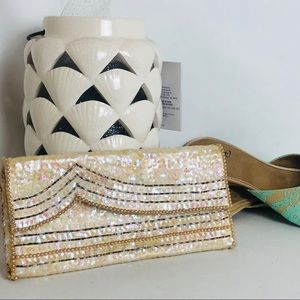 Vintage Sequin Champagne Wallet/Clutch